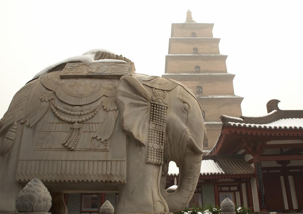 The Giant Wild Goose Pagoda and the Da Ci'en Temple.