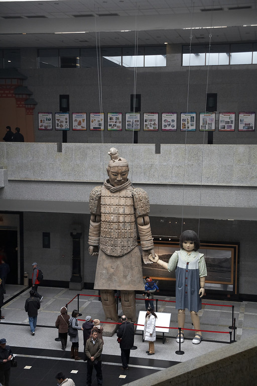 """Inside the museum are the giant puppets used for a performance titled """"The Warrior and the Girl"""" during the 2008 Olympics. The warrior puppet is 22 feet tall."""