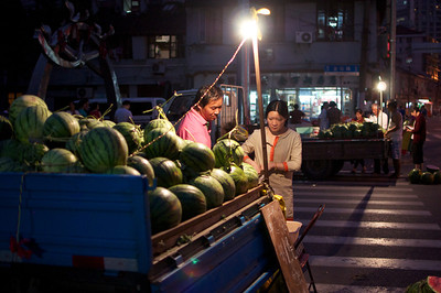 Late night watermellon purchase in Xiaonanmen.