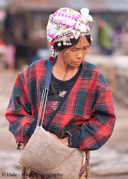 Akha Woman On Market Day in Xieng Kok, Laos