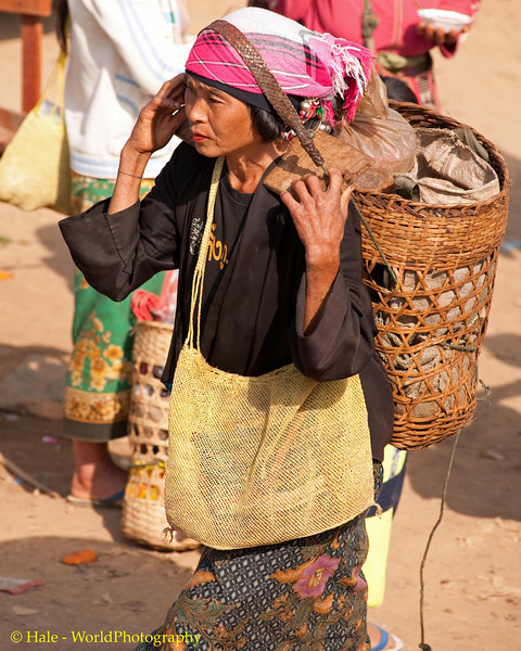 Akha Woman Ready to Leave the Market With Her Purchases