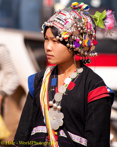 Young Akha Woman Wearing Traditional Clothing, Lao People's Democratic Republic