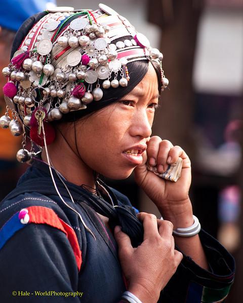 Akha Woman At Xieng Kok Market