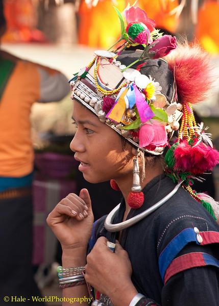 Young Woman Wearing Traditional Akha Hat