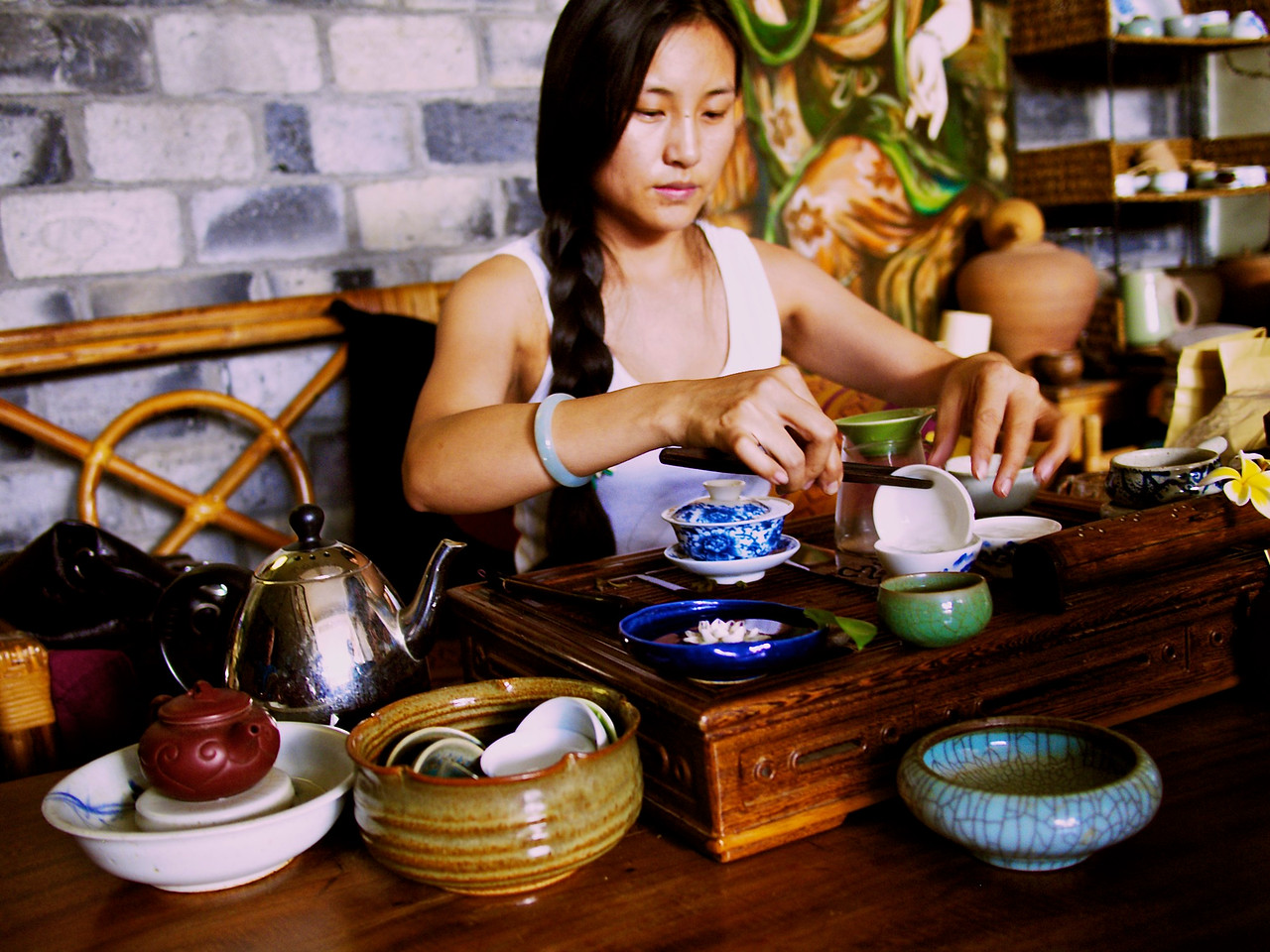 she and her husband make and package pu'er tea, a kind unique to this region.