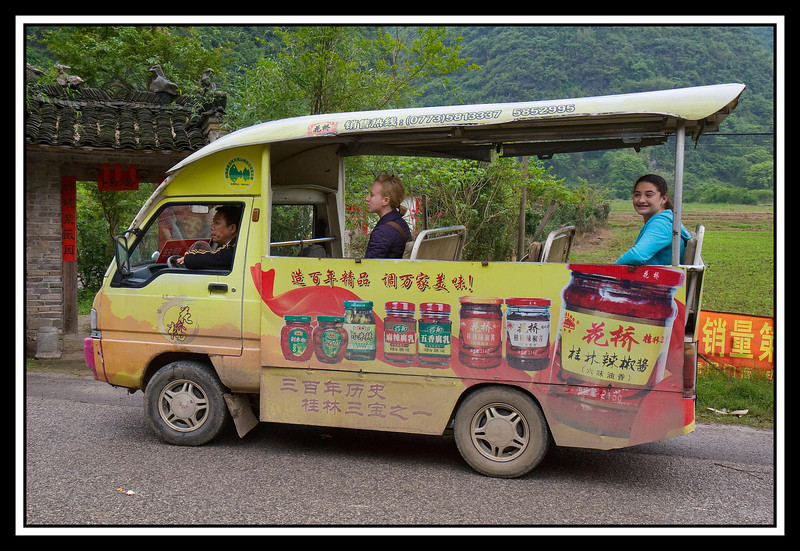 Tour vehicle for rural tour outside of Yangshuo. This vehicle can accommodate six persons in the bed and one person next to the driver...