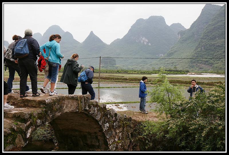 Group crossing bridge to see rice paddies...