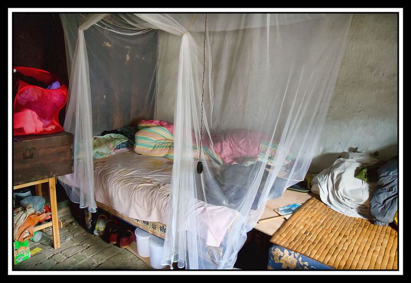 Bed with mosquito net...