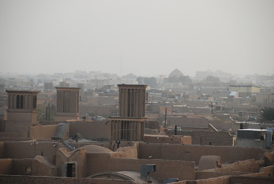 Yazd as the evening mist begins to fall.
