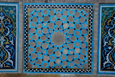 Close up of a tile mosaic in the Jamah Mosque.