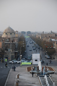 The main street of Yazd taken from the mosque with The Watercarriers in the foreground.