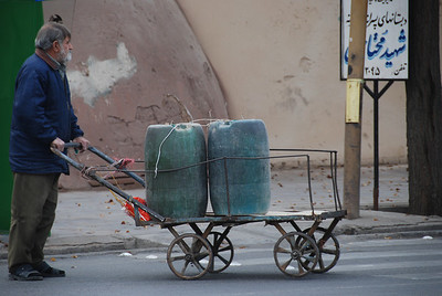 Manpower on the streets of Yazd.