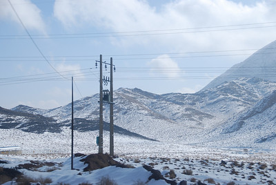 Snow on the hills between Isfahan and Yazd.