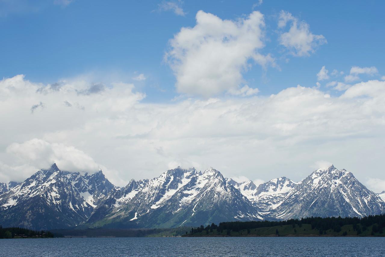 Grand Tetons from Jackosn Lake Dam
