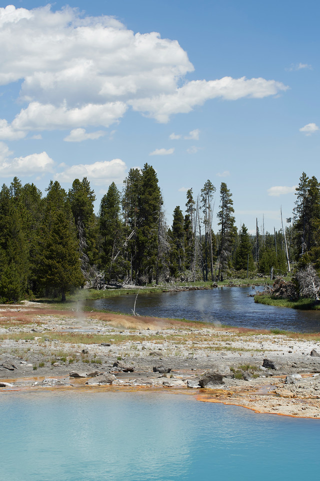 Wall Pool and Firehole River, Biscuit Basin