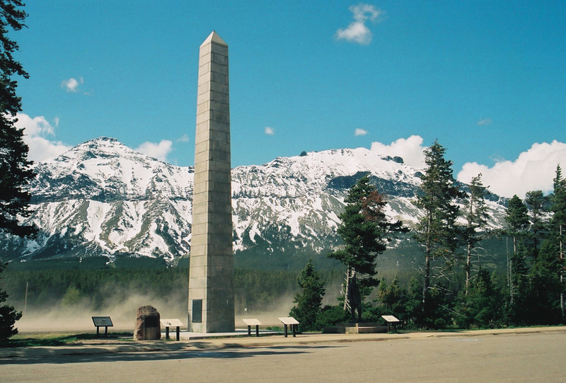 Marias Pass, Theodore Roosevelt Memorial Monument.  See the dust blow?  The wind was so strong I could barely stand.