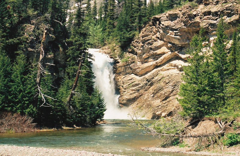 Running Eagle Falls, double waterfall near Two Medicine Lake