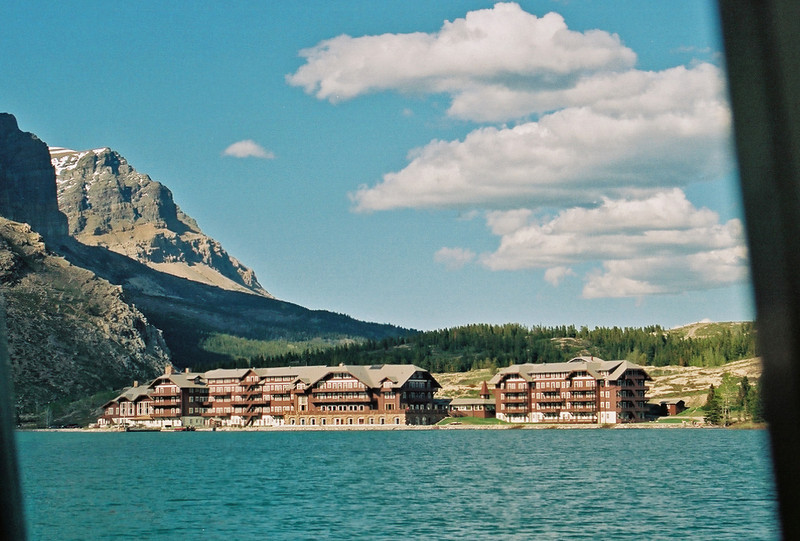 Many Glaciers Lodge, from Swiftcurrent Lake