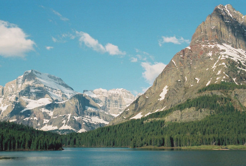 Swiftcurrent Lake, Mt. Grinnell, Mt. Gould (left)
