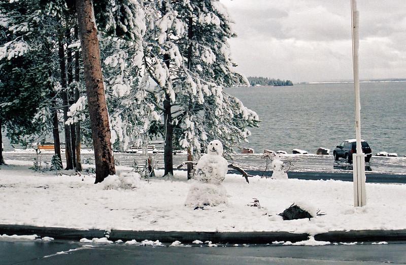 Snowmen at Lake Hotel