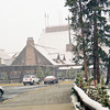 Old Faithful Lodge, snowing