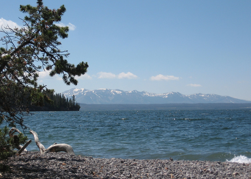 Some mountains seen from the shore of Lake Yellowstone.