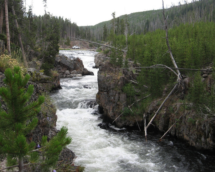 The Firehole River goes through some narrow canyons.