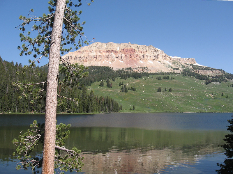Near the top, there are lakes and meadows.