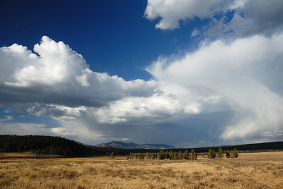 This was the view behind me while watching a grizzly bear in the distance.  And, yes, the sky is real!