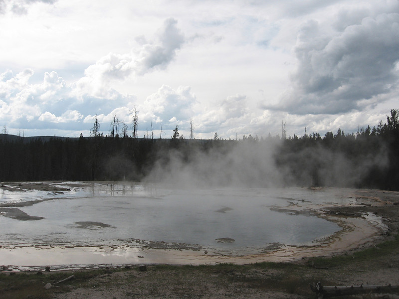 According to the sign, this is a geyser that erupts every few minutes. We saw what we think was an eruption (which I didn't get a picture of), but I've seen bigger spectacles made with Mentos and Coke. Still, it's pretty cool to come across bubbling hot water in the middle of the woods.