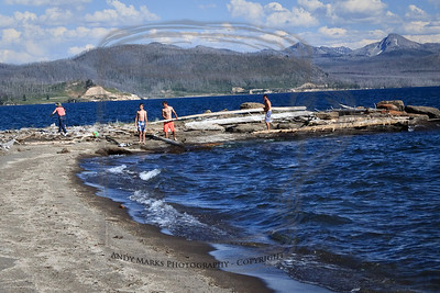 A new twist to beach fun, picked up on a remote beach on California's Big Sur coast. Beach huts. Here's the main beam.. (note how large tracts of the forest have been reduced to bare trees, gray lines..) Storm Point on Yellowstone Lake, Yellowstone Natl. Park, WY 30Jul10