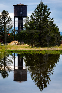 Ornate water tank in West Yellowstone, Montana.