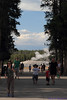 People leaving Old Faithful after an eruption.