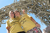 Vanessa and Ashley pose under Afton, Wyoming's famous elkhorn arch enroute with Tom's Tours to Yellowstone.