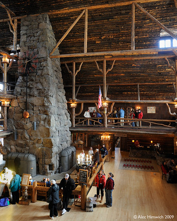 Many Lodgepole Pines gave up their lives for the Old Faithful inYellowstone Inn.  It is billed as th world's largest log cabin.  It opened in 1904 at a time when sensitivity to the environment and life style was very different from our own in the early 21ist Century.