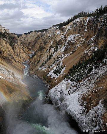 Here is a view of the Great Falls of the Grand Canyon of the Yellowstone. You can see a faint rainbow created by spray from the Falls in the lower left hand side of the image.