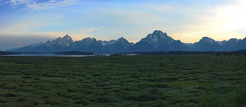 Evening view of Tetons from Jackson Lake Lodge
