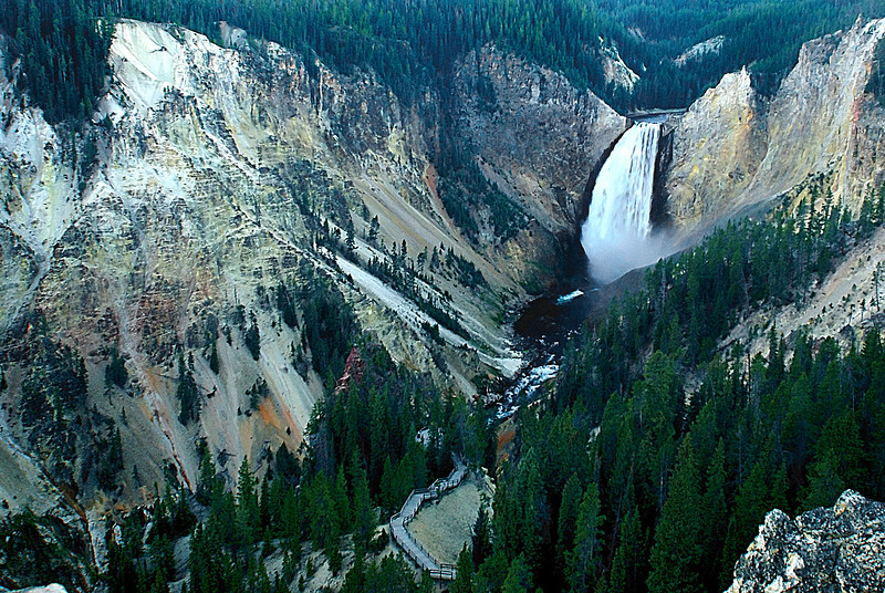 Lower Falls of the Yellowstone. Came here quite late after dusk and the extended exposure at high ISO made the picture so noisy. Wish I got this postcard better.