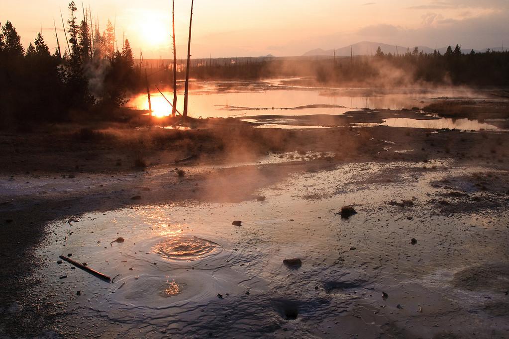 Golden Volcano Light @ Yellowstone National Park