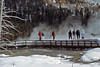 Winter, Group exploring Upper Geyser Basin, Yellowstone National Park, Wyoming, USA, North America