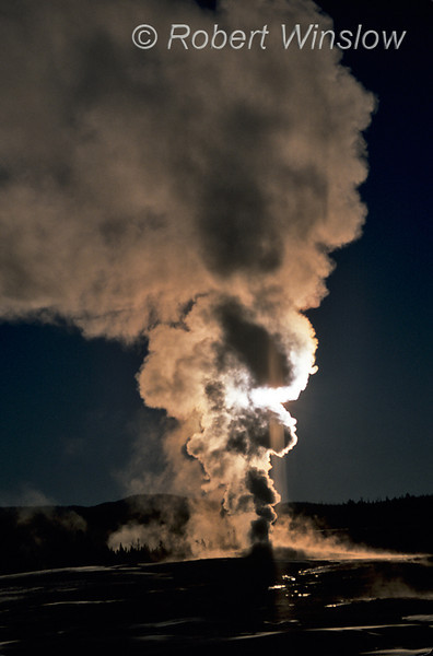 Winter, Morning, Steam rising from Old Faithful Geyser, Yellowstone National Park, Wyoming, USA, North America