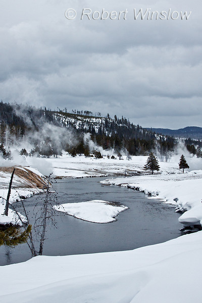 Winter, Water in three States, Firehole River, Upper Geyser Basin, Yellowstone National Park, Wyoming, USA, North America