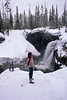 Tourists view Moose Falls, Winter, Yellowstone National Park, Wyoming, USA, North America