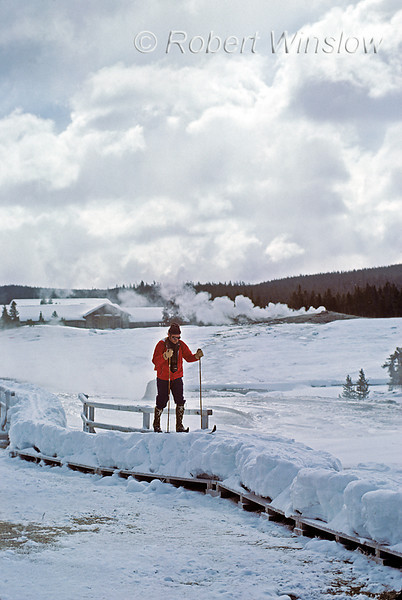 Winter, Cross-country Skier, Upper Geyser Basin, Yellowstone National Park, Wyoming, USA, North America