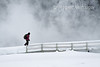 Hiker, Winter, Old Faithful Area, Yellowstone National Park, Wyoming, USA, North America