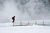 Hiker, Winter, Old Faithful Area, Yellowstone National Park, Wyoming, USA, North America