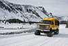 Winter, Snowcoach, Madison River, Bison, Yellowstone National Park, Wyoming, USA, North America
