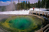MR, Winter, Woman, Cross-country Skiing, Morning Glory Pool, Upper Geyser Basin, Yellowstone National Park, Wyoming, USA, North America