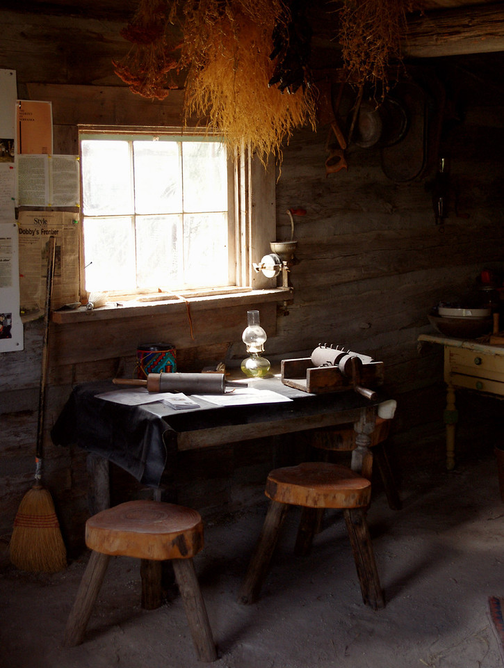 Log cabin dining table. Dobby's Frontier Town near Alliance, Nebraska.