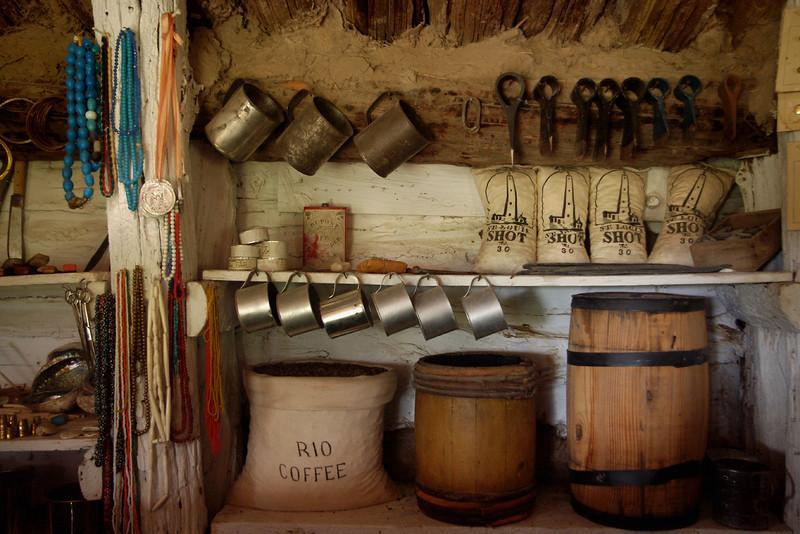 Bordeaux Trading Post, interior display of trade goods. Museum of the Fur Trade, near Chadron, Nebraska.